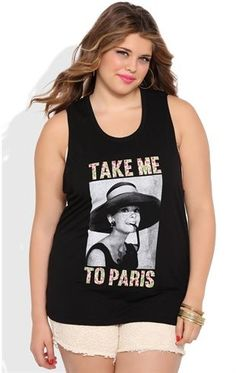 Deb Shops Plus Size Tank Top with Braided Back and Audrey Hepburn Paris Screen