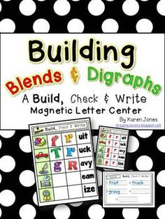 Building Blends & Digraphs: A interactive, independent magnetic letter center to help your kids practice blends and digraphs. $
