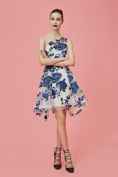 Enchanting - White Short Dress Accented with a Blue Floral Design - Marchesa Notte Pre-Fall 2016 Collection Photos - Vogue