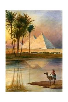 size: Giclee Print: The Great Pyramid of Giizeh Art Print by English School : Artists Horse Art, Art Prints, Art Painting, Travel Art, Islamic Art, Wall Art, Egypt Art, Art, Watercolor Landscape
