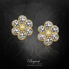 Natural yellow oval diamond set with mixed-shaped diamonds  #beganijewels