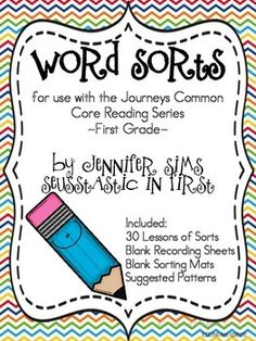 These word sorts may accompany your Journeys first grade reading series.It is complete with a sort for each week/lesson that correlates to the phonics/spelling words for the lesson.The activities are inspired by Words Their Way, in that students may see differently when sorting.