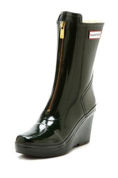 Hunter Zip Wedge Boots