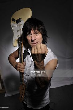 Jeff Beck of the bands The Yard Birds and The Jeff Beck Group. During a portrait shoot with his Fender Stratocaster guitar on May 13, 2009.