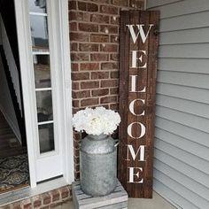 """Oversized Front Door Front Patio Rustic """"Welcome"""" Pallet Sign - Rustic front door decor - Door Design Farmhouse Front Porches, Small Front Porches, Front Porch Pillars, Rustic Porches, Modern Farmhouse Porch, Rustic Cabins, Log Cabins, Welcome Signs Front Door, Front Door Decor"""