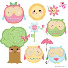 { KAWAII OWL CLIPART SET } Cute little Kawaii Owls! This collection comes with 8 graphics including: 4 cute owls in pink, blue, green and Owl Clip Art, Clip Art Pictures, Spring Projects, Gift Tags Printable, Free Graphics, Cute Owl, Kawaii Cute, Patch, Clipart