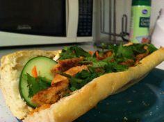 Vietnamese sub sandwich, quick pickled veggies, marinated grilled chicken breast.