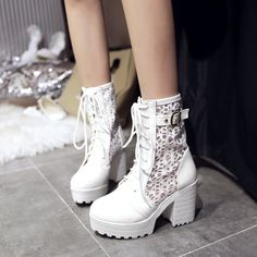 womens lace buckle lace up block chunky heels platform boots ankle shoes plus sz #Unbranded #FashionAnkle