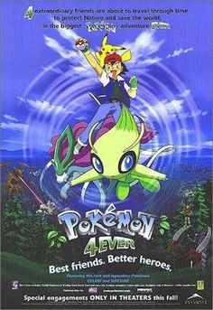 The fourth pokemon movie tells the story of the time-traveling. You are watching the movie pokemon celebi voice of the forest Pokemon 2000, Pokemon Fan, All Movies, Movies And Tv Shows, Disney Movies, Forever Movie, Pokemon Merchandise, Four Movie, Pokemon Movies