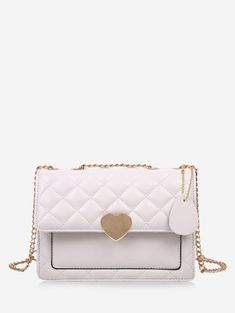 [30% OFF] 2019 Quilted Heart Chain Crossbody Bag In WARM WHITE | DressLily Cheap Crossbody Bags, Chain Crossbody Bag, Heart Chain, Buy Bags, Mini Heart, Christmas Bags, Leopard Pattern, Heart Shapes, Gender