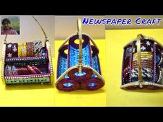 3 in 1 Newspaper craft | newspaper organizer | newspaper flowerpot | newspaper candle stand - YouTube