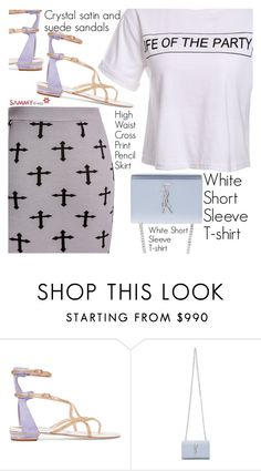 """Printed Mini Skirt"" by vanjazivadinovic ❤ liked on Polyvore featuring René Caovilla, Yves Saint Laurent, MINISKIRT, sammydress, polyvoreeditorial and Poyvore"