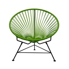 Sit back and melt into this hoop-shaped, sunburst-woven modern lounge chair, complete with UV-resistant vinyl cord for breathability and support and a rust-resistant galvanized steel frame with a semi-...  Find the Sunburst Hoop Modern Lounge Chair in Green, as seen in the Best of 2014:  Palm Springs Alexander Collection at http://dotandbo.com/collections/encore-palm-springs-alexander?utm_source=pinterest&utm_medium=organic&db_sku=INN0003-grn