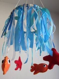 For the party, create a banner with ribbons and dangling fish