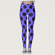 Purple And Black Polka Dot Leggings #halloween #holiday #creepyhollow #women #womensclothing