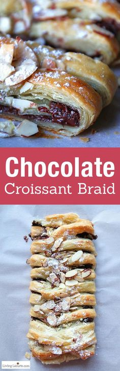 Warm gooey chocolate baked inside of a tasty crescent pastry braid. Easy almond topped recipe for any party, brunch, breakfast, or school event. Tastes like the perfect chocolate croissant! LivingLocurto.com