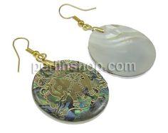 Seeohr Muschel Tropfen Ohrring, flache Runde, goldfarben plattiert, Golddruck, 30x37x3mm, 53mm