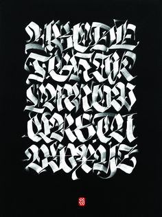 For sale. Multiple flat brushes ancd gouache on black cotton paper, cm. Calligraphy Letters Alphabet, Graffiti Lettering Alphabet, Calligraphy Types, Tattoo Lettering Fonts, Lettering Styles, Typography Letters, Hand Lettering, Creative Fonts, Painted Signs