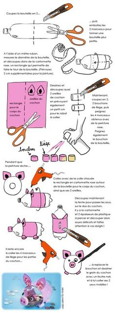 DIY enfants : fabriquer une tirelire cochon - Who Is Gabi Butler? Cheerleading Highlights Part 1 Bottle Art, Bottle Crafts, Diy Photo, Recycled Crafts, Diy And Crafts, Diy For Kids, Crafts For Kids, Recycling, Inspirational Gifts