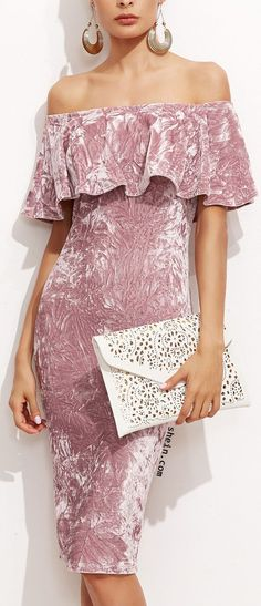 Online shopping for Pink Off The Shoulder Ruffle Sheath Dress from a great selection of women's fashion clothing & more at MakeMeChic. Velvet Fashion, Pink Fashion, Fashion Dresses, Dress Skirt, Dress Up, Ruffle Dress, Pink Dress, White Dress, Cute Date Outfits