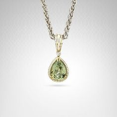 Charles Krypell Green Amethyst #Necklace in 14K #Gold and Sterling Silver