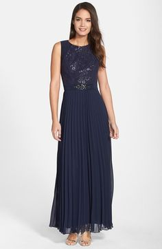 Free shipping and returns on Patra Embellished Metallic Lace Pleated Gown at Nordstrom.com. Shimmery metallic lace illuminates the bodice atop a majestic navy gown embellished with silvery beads at the inset waist before releasing into a sophisticated pleated skirt.