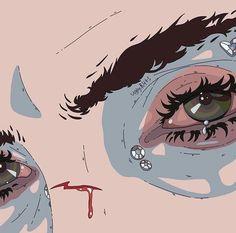 Up Close Graphic Design Portrait Illustration Pailletten und Blood Art Eyes Zeichnung . Aesthetic Anime, Aesthetic Art, Arte Indie, Blood Art, Dibujos Cute, Poses References, Image Manga, Portrait Illustration, Graphic Illustration