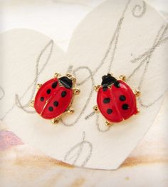 Love Bugs Ladybugs Vintage Posts Earrings