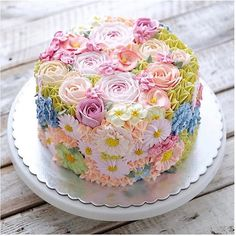 Kid Birthday Cake Idea Collection - Cake Decorating Without Fear - Life ideas Gorgeous Cakes, Pretty Cakes, Cute Cakes, Amazing Cakes, Buttercream Flowers, Buttercream Cake, Rodjendanske Torte, Spring Cake, Gateaux Cake