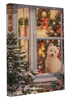 Clever Creations Christmas Puppy Light Up Canvas Wall Art Dog Sitting in a Window Christmas Puppy, Christmas Tree, Christmas Ideas, Christmas Pictures With Lights, Light Up Canvas, Large Dog Breeds, Holiday Festival, Favorite Holiday, Dog Pictures