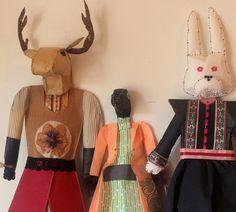 La fiesta. muñecos de papel cosidos a mano y a maquina. Alejandra Correa / www.ale-correa.com