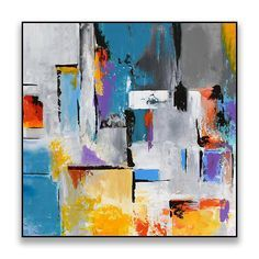 Large Abstract Contemporary Square Painting On Canvas, Modern Wall Art Painting, Handmade Original Wall Decor Art Red Orange Blue Grey Please click MORE tab below to read full description. AVAILABILITY: MADE TO ORDER Producing time for Made To Order paintings is 5-9 days.
