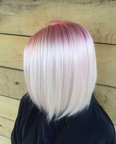 smoky pink roots in platinum blonde