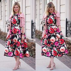 Bloom on dress. #chicwish floral prom dress( sku: D20150219010) #chic #dress #dressup #promdress #floral #floraldress #blossom #midi #blogger #fashionblogger #ootd #outfit #shop #sale