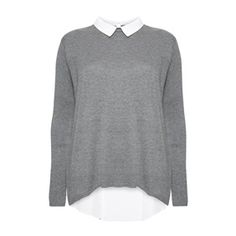 This fab grey jumper and white shirt combo features a sexy peek-a-boo semi-sheer back.