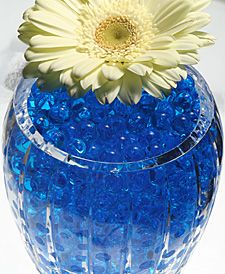Blue  Water Beads: water beads start out as small hard pellets, just add water and they will expand into glimmering gel beads