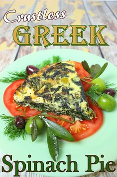 So perfect for an easy weeknight dinner or for an Easter Brunch - Crustless Greek Spinach Pie for #WeekdaySupper