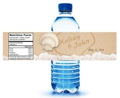 40 Custom Water Bottle Labels ready to apply. Writing in the sand. $20 for 40 labels. #weddingwelcomebags