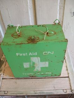 These hard old first aid cases used to be the thing to have. Now soft cases are more practical and less likely to hurt you should you bump into them.