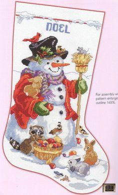 Gallery.ru / Фото #1 - 2 - IannaD Snowman stocking Xstitch free pattern