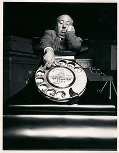 Alfred Hitchcock on the phone.
