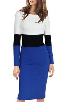 Stylish Scoop Neck Long Sleeve Color Block Back Slit Dress For WomenBodycon Dresses | RoseGal.com