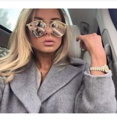 9247cc5d5db Mirrored-Cat-Eye-Sunglasses-Rose-Gold-So-Real-2015-Reflective-Bloggers-New.  Melanie Müller · Dior Reflected