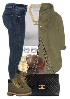"""Chanel on Chanel."" by livelifefreelyy ❤ liked on Polyvore featuring Miss Selfridge, Chanel, Current/Elliott, Movado and Timberland"