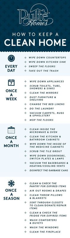 With the holidays around the corner, it's time to make sure your home is in guest-ready condition! Keep your house sparkling with these easy tips on how often to clean each corner of your home. PIN now and use later as your go-to checklist! | Pulte Homes