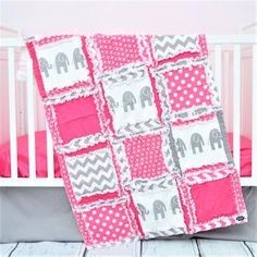 Elephant Baby Girl Crib Bedding - Baby Pink / Gray Nursery – A Vision to Remember