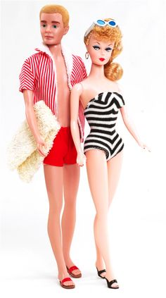 Ken and Barbie- 1961  Ken stylin' in his red striped cabana jacket.
