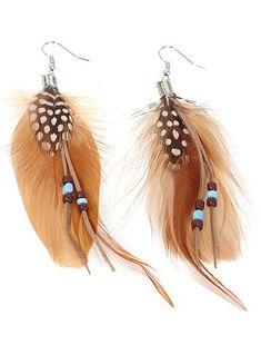 Pendientes largos con plumas y perlas finas                                                                                         marrón Mujer