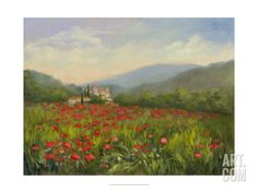 Umbrian Poppy Field Premium Giclee Print by Mary Jean Weber at Art.com