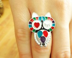 Owl ring jewelry sleeping owl jewelry cute by MyFunnyThings, $9.90